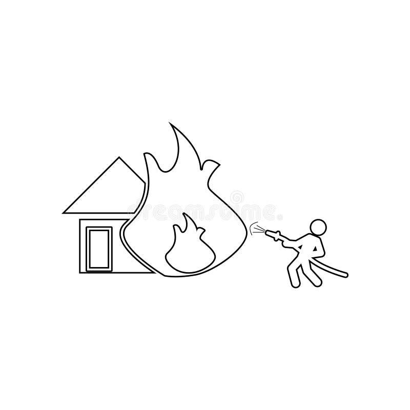 熄灭有水管象的一个房子 消防员的元素流动概念和网应用程序象的 r 向量例证