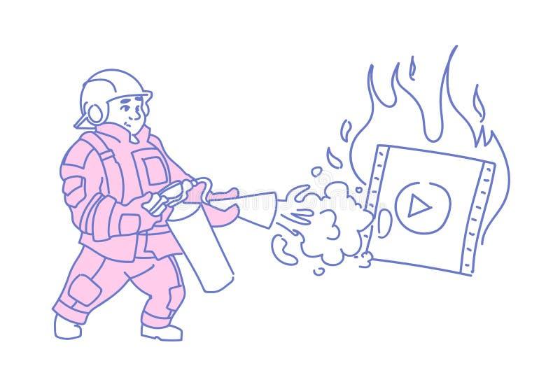 熄灭灼烧的图象播放机网上媒介的消防员放出影片穿红色制服的概念字符 库存例证