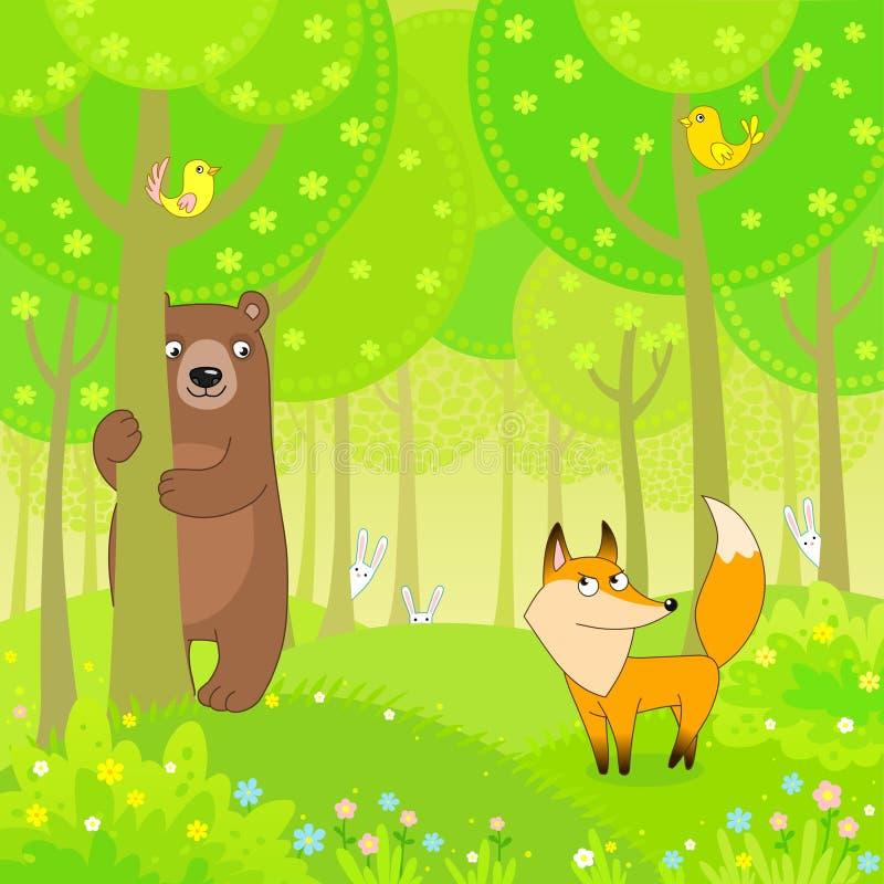 熊,狐狸和野兔使用在木头的捉迷藏图片