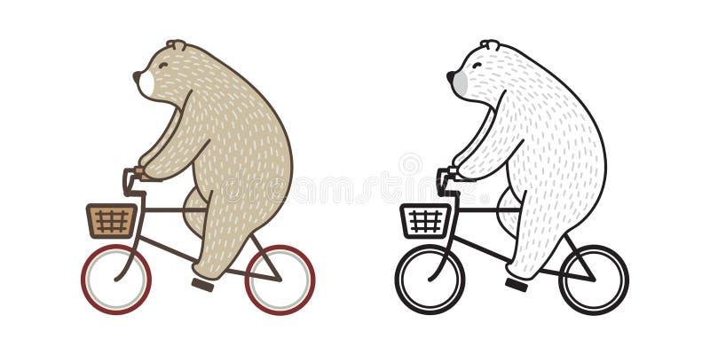 熊传染媒介北极熊乘驾自行车乱画例证字符动画片 库存例证