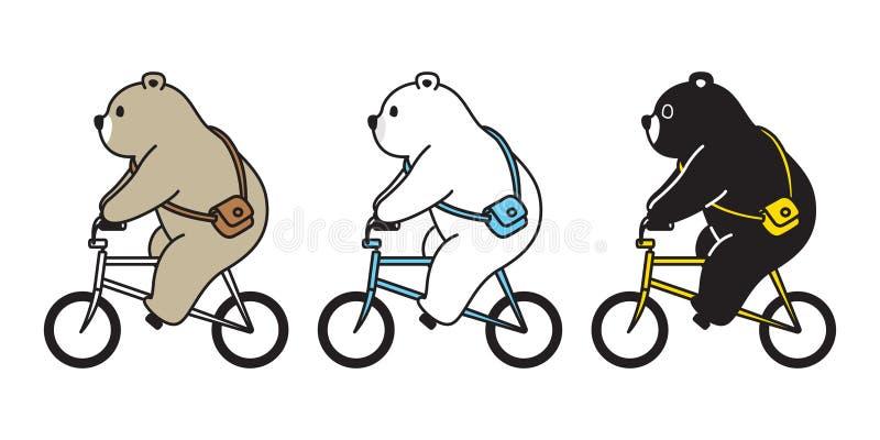 熊传染媒介北极熊自行车乘坐的卡通人物象商标例证乱画 向量例证