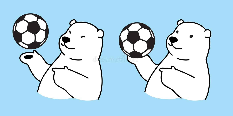 熊传染媒介北极熊足球橄榄球卡通人物象商标国际足球联合会例证白色图片