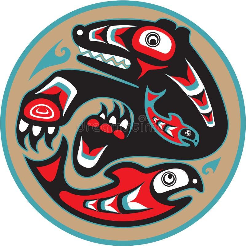 熊传染性的海达族人三文鱼样式 向量例证