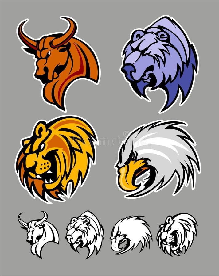熊公牛老鹰狮子徽标吉祥人学校 向量例证