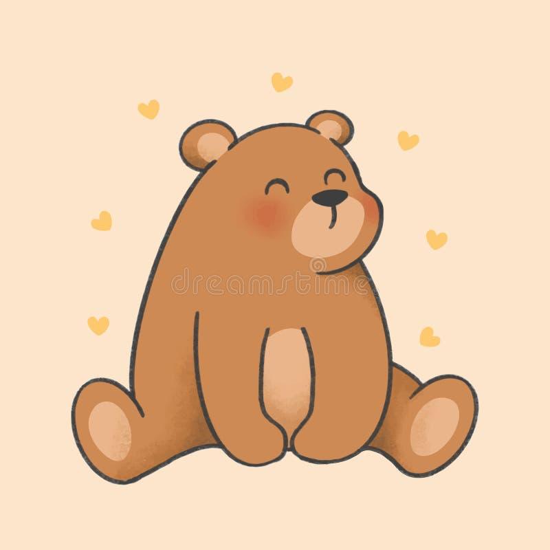 熊动画片手拉的样式 皇族释放例证