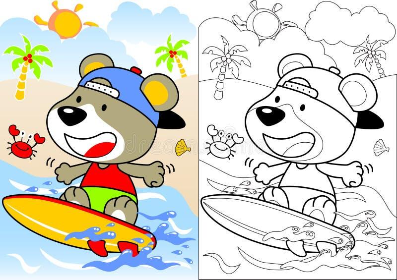 熊动画片滑稽的冲浪者 库存例证