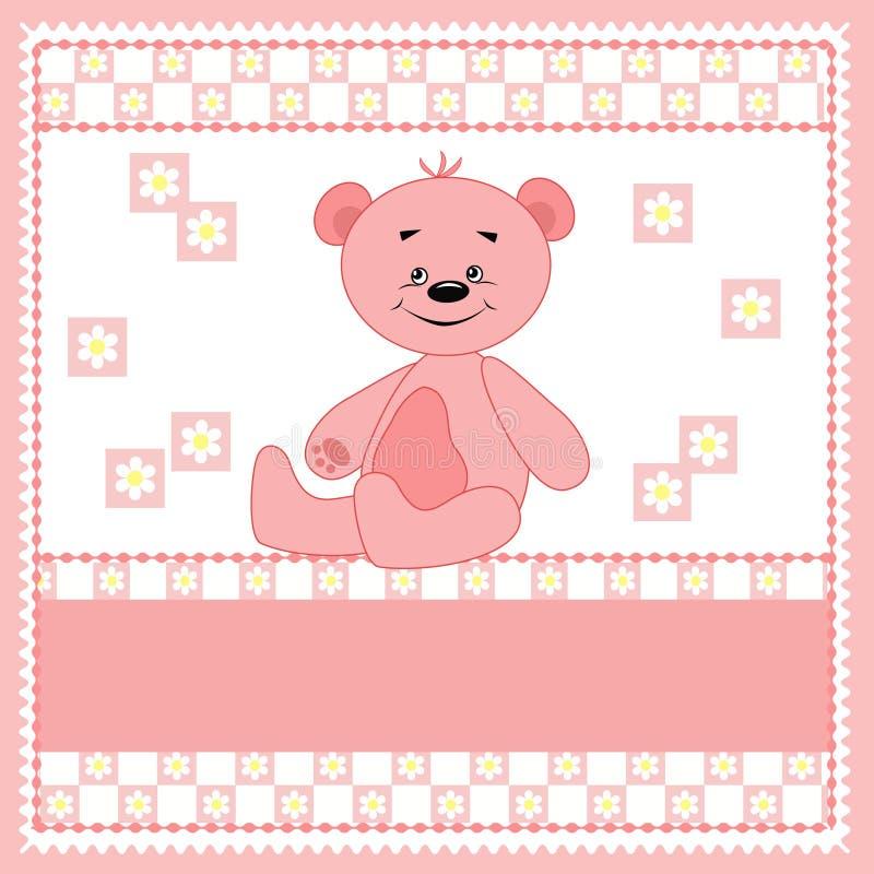 熊动画片滑稽的粉红色 库存例证