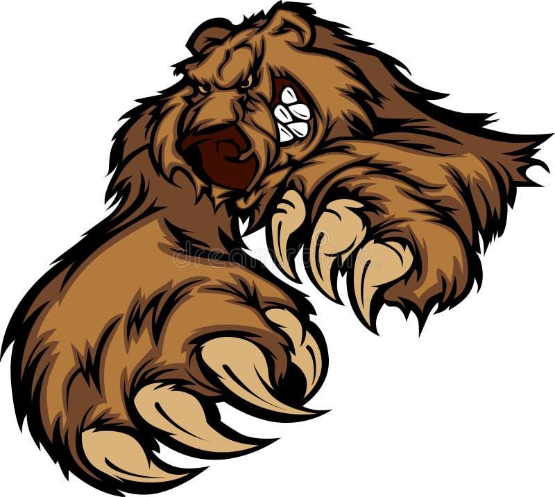 熊北美灰熊徽标吉祥人向量 向量例证