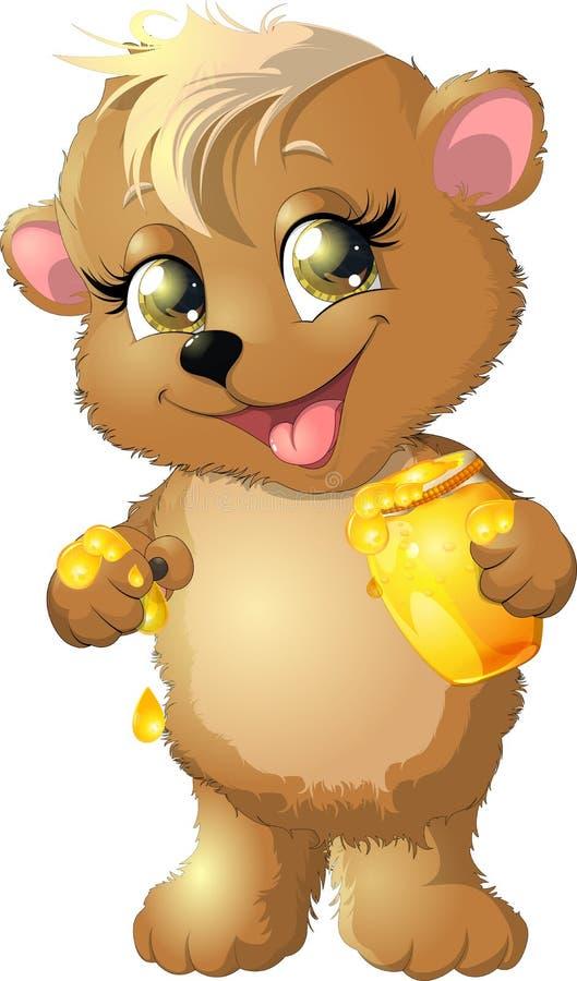 熊吃蜂蜜 库存例证