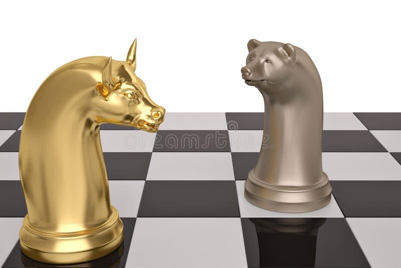 熊和公牛在棋盘的棋子 3d例证 皇族释放例证