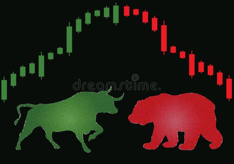 熊和公牛在股票市场上碰撞 向量例证