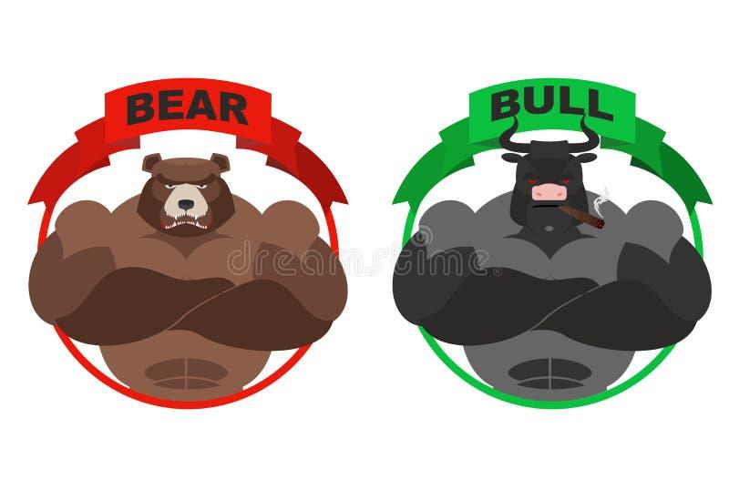 熊和公牛 强的熊 E 皇族释放例证
