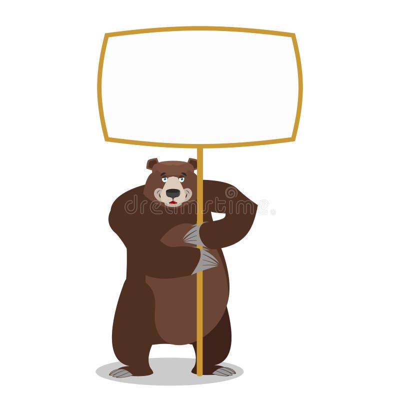 熊和空的横幅 野生动物和空白 野兽和干净的wh 库存例证