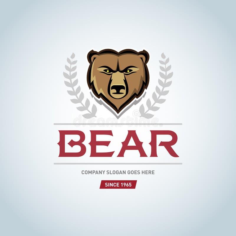 熊商标模板 动物顶头标志 北美灰熊吉祥人,队商标设计,恼怒的熊 熊略写法传染媒介设计元素 皇族释放例证