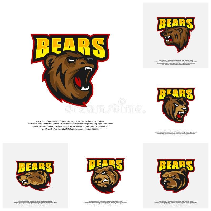 熊商标设计传染媒介的汇集 体育队的现代专业北美灰熊商标 向量例证