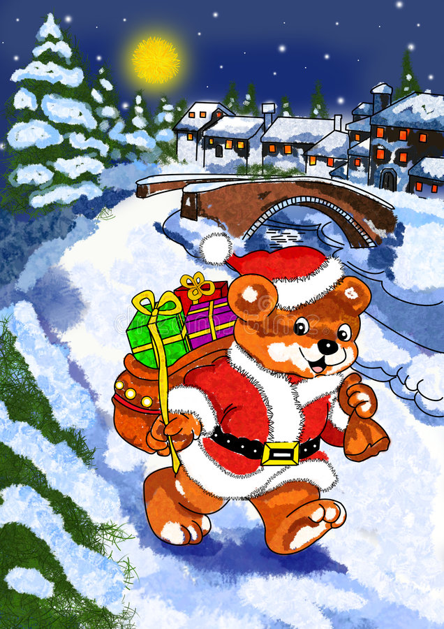 熊圣诞老人 库存例证