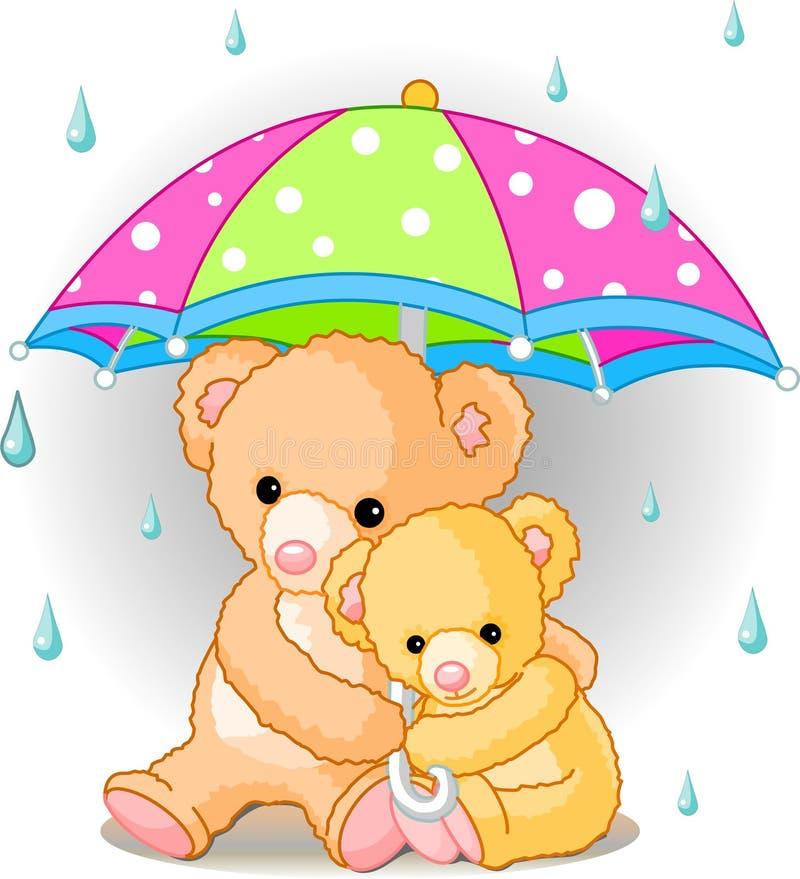 熊在伞下 库存例证