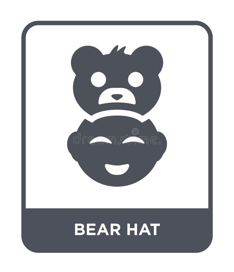 熊在时髦设计样式的帽子象 熊在白色背景隔绝的帽子象 熊帽子传染媒介象简单和现代舱内甲板 皇族释放例证
