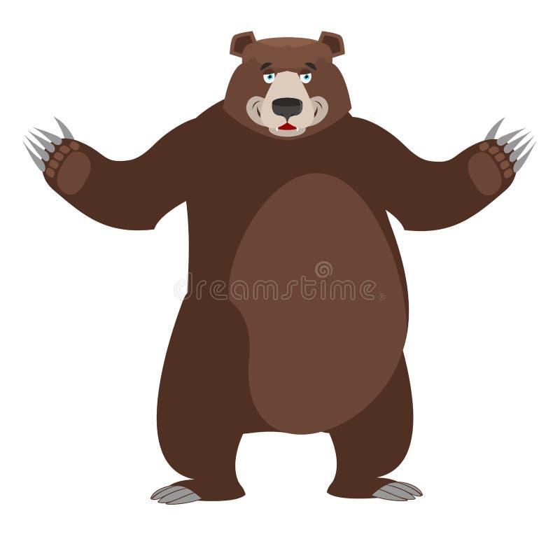 熊在白色背景中 好愉快的野生动物 森林beastl 向量例证