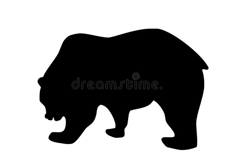 熊在白色背景,传染媒介eps 10的黑色剪影 皇族释放例证
