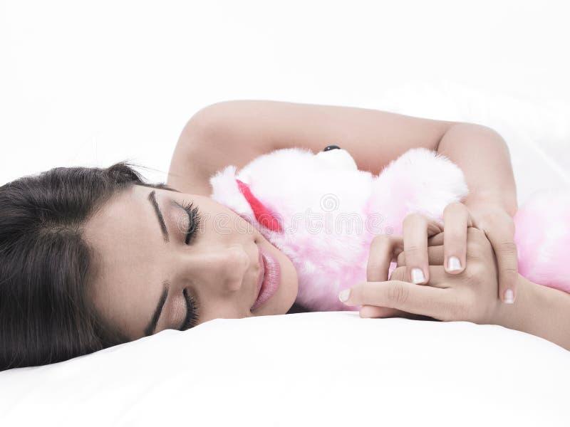 熊女孩她休眠女用连杉衬裤 免版税库存图片