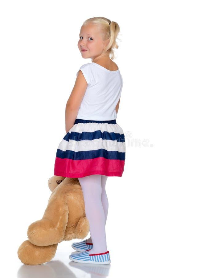 熊女孩少许女用连杉衬裤 免版税库存照片