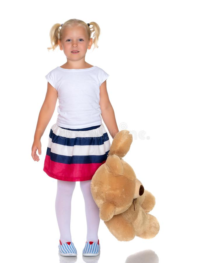 熊女孩少许女用连杉衬裤 图库摄影