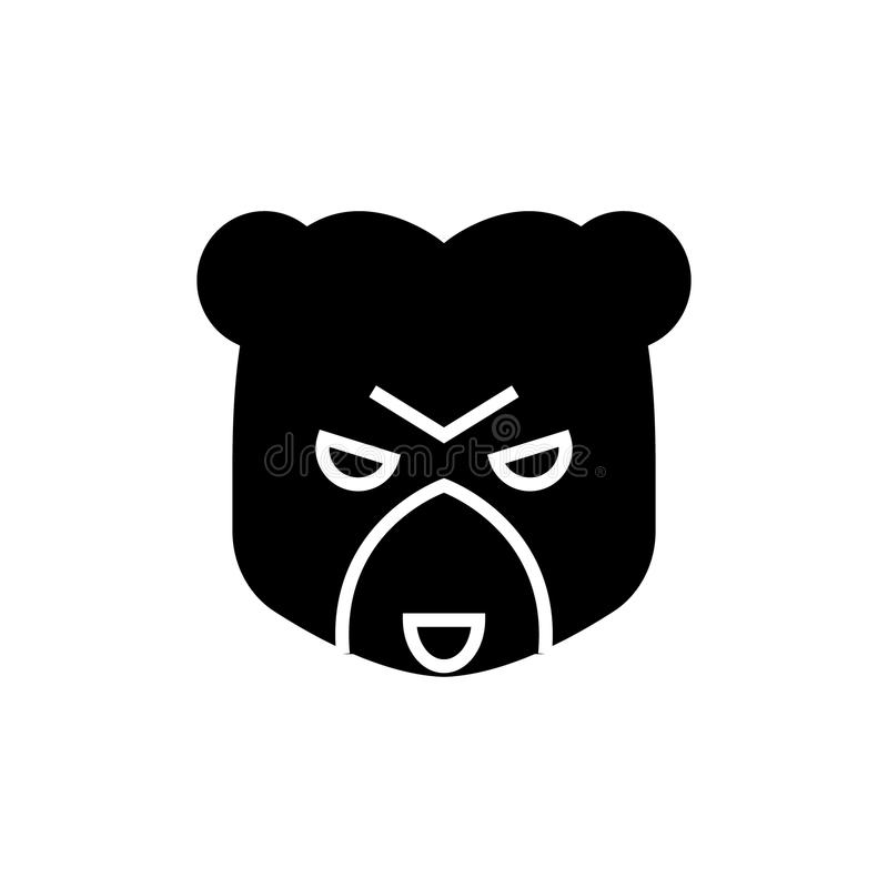 熊市象,传染媒介例证,在被隔绝的背景的黑标志 皇族释放例证