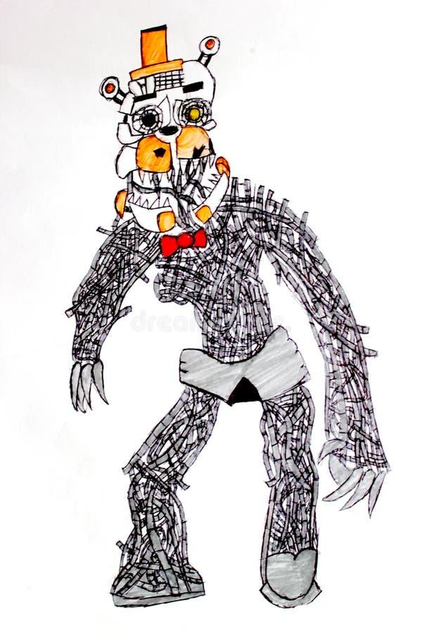 熊弗雷迪机器人妖怪图画 免版税库存图片