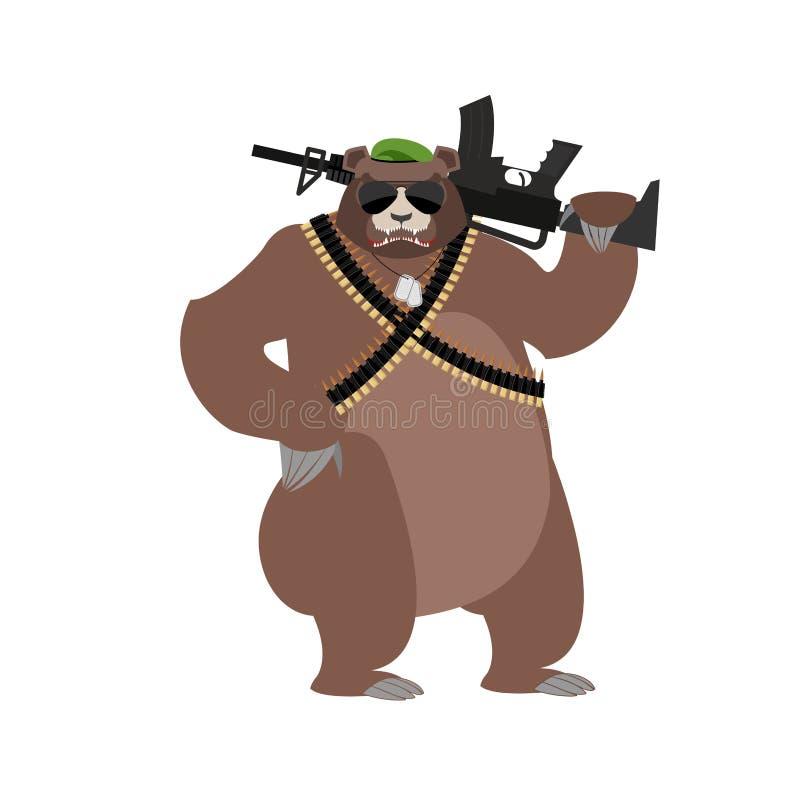 熊战士 北美灰熊军事 与枪的野生动物 皇族释放例证