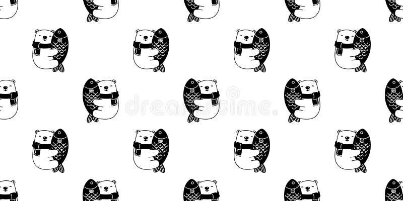 熊无缝的样式传染媒介北极熊拥抱鱼三文鱼金枪鱼动画片例证重复墙纸围巾被隔绝的瓦片背景 库存例证