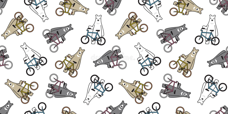 熊无缝的样式传染媒介北极熊自行车骑马循环的动画片例证围巾被隔绝的瓦片背景重复wallpape 向量例证