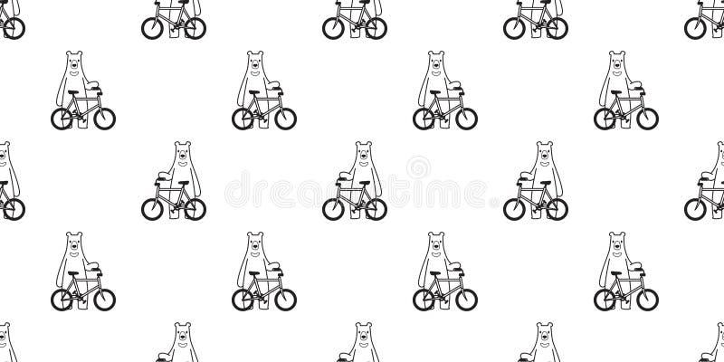 熊无缝的样式传染媒介北极熊自行车骑马循环的动画片围巾被隔绝的例证瓦片背景重复wallpape 皇族释放例证