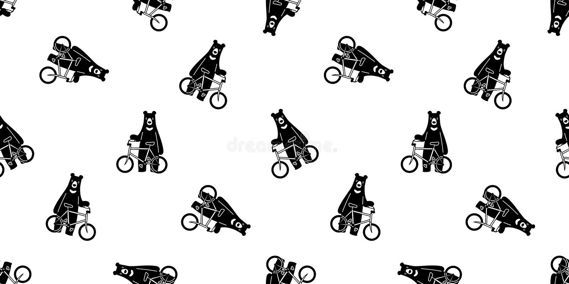 熊无缝的样式传染媒介北极熊自行车骑马循环的动画片围巾被隔绝的例证重复墙纸瓦片backgroun 库存例证