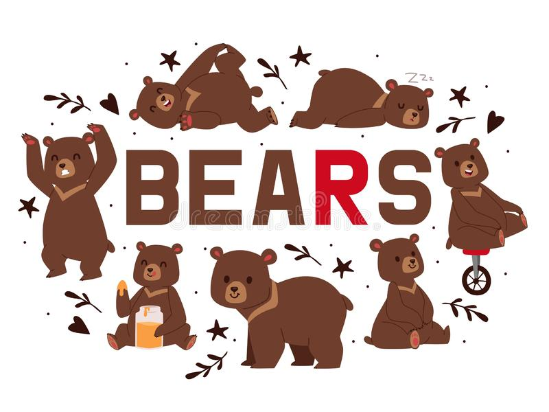 熊横幅传染媒介例证 动画片褐色北美灰熊 女用连杉衬裤用不同的姿势和活动,开会,跳舞 皇族释放例证