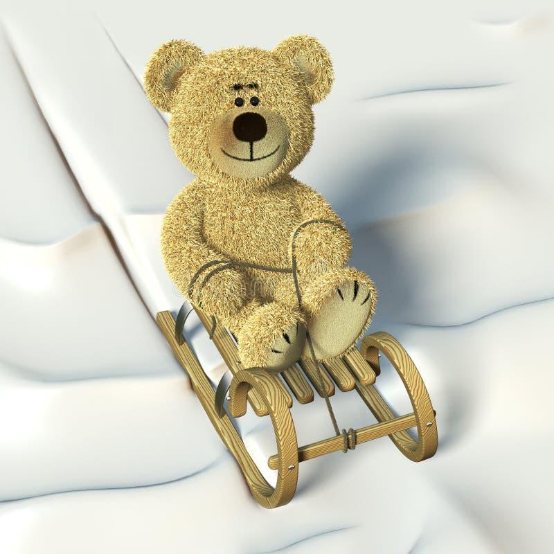 熊沿岸航行的nhi爬犁 向量例证