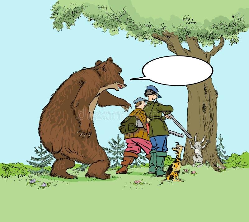熊狩猎猎人 猎人战利品熊狩猎狩猎期的牺牲者和野兔 皇族释放例证
