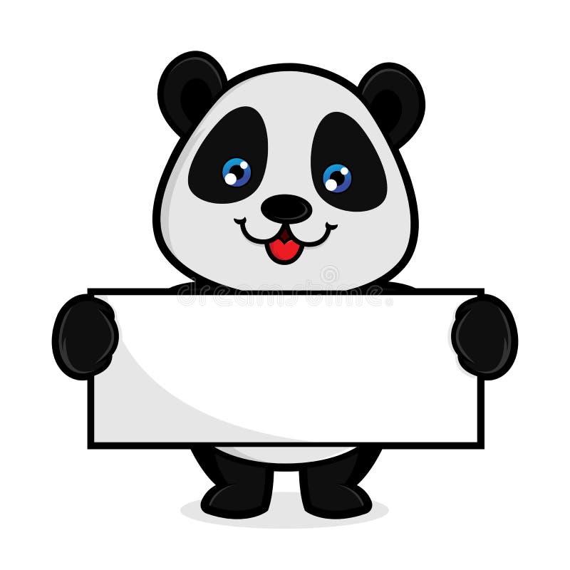 熊猫举行空白标志 库存例证