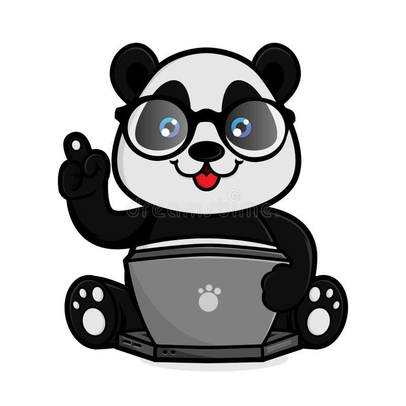 熊猫举行膝上型计算机 皇族释放例证
