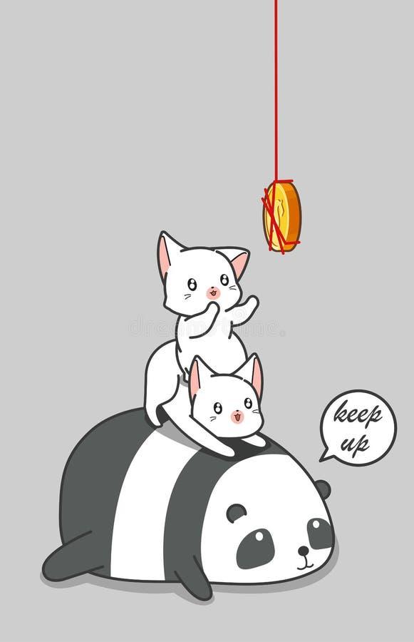 熊猫和2只猫捉住硬币 向量例证