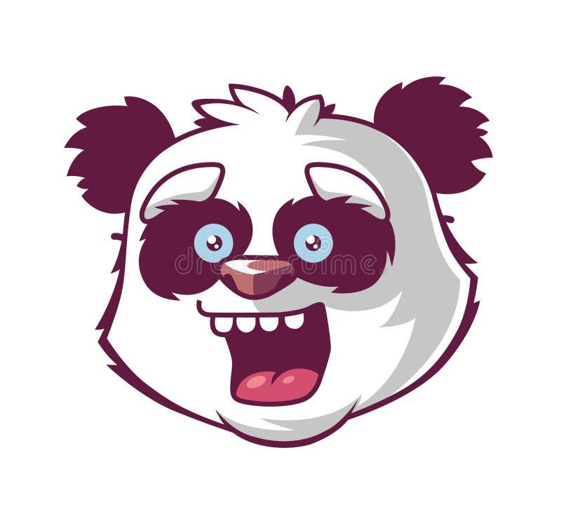 熊猫微笑 字符的头 库存例证