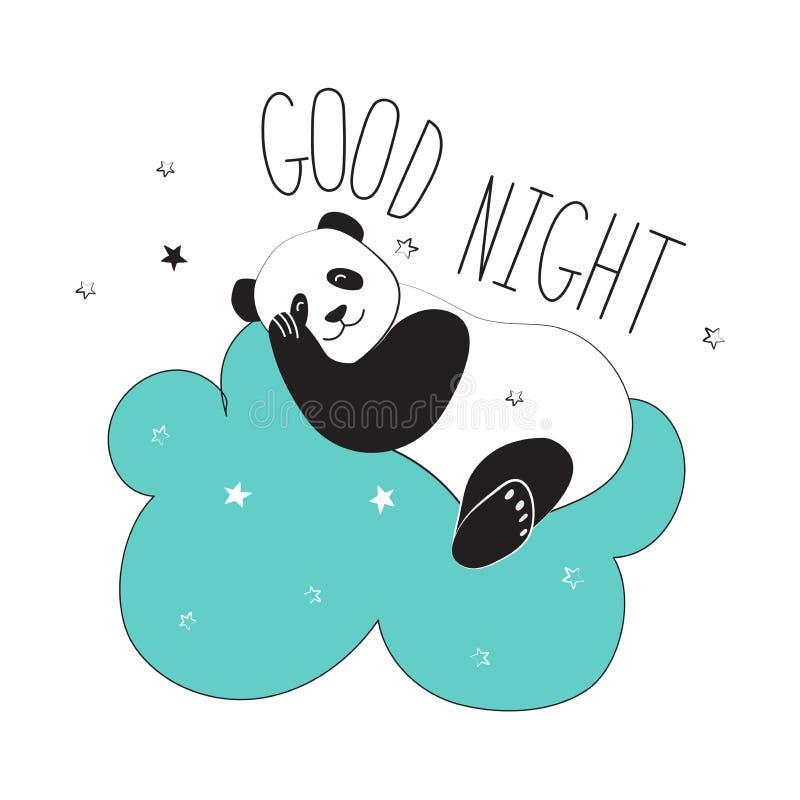 熊猫的传染媒介例证在空间样式的 盖子、海报、日志、笔记本、案件或者织品的凉快的贴纸 熊猫在分类睡觉 向量例证