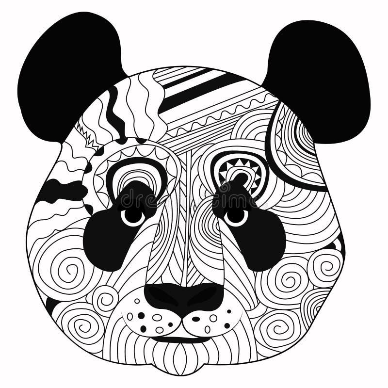 画黑熊猫的线艺术手隔绝在白色背景 Dudling样式 Tatoo Zenart 成人的着色 库存例证