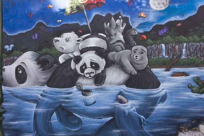 熊猫街道画在里斯本 库存图片
