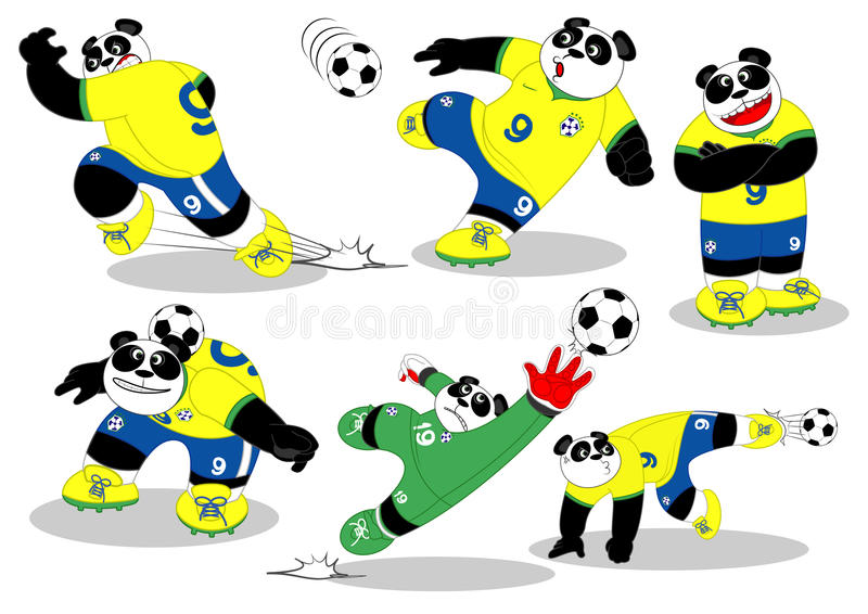 熊猫足球巴西所有Action2 向量例证