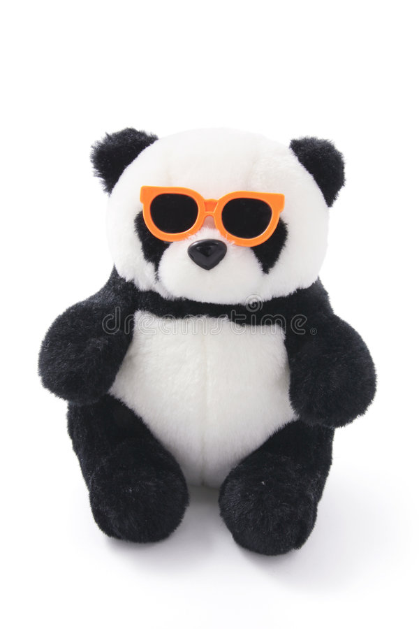 熊猫软的太阳镜玩具 免版税图库摄影