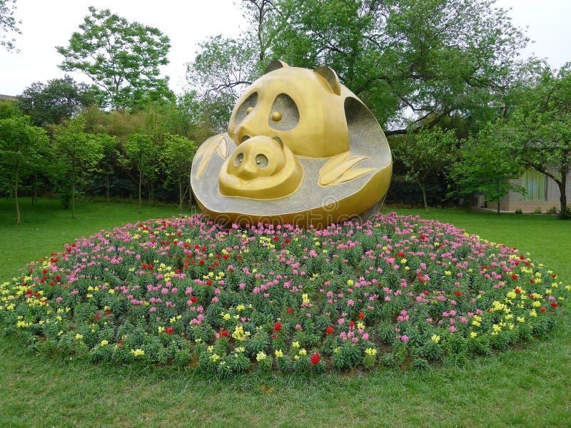 熊猫雕象 库存图片