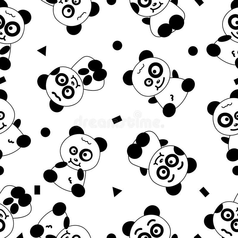 熊猫,逗人喜爱的动画片无缝的样式黑白抽象ba 向量例证