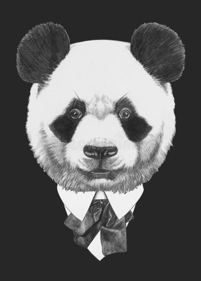 熊猫画象在衣服的 库存例证