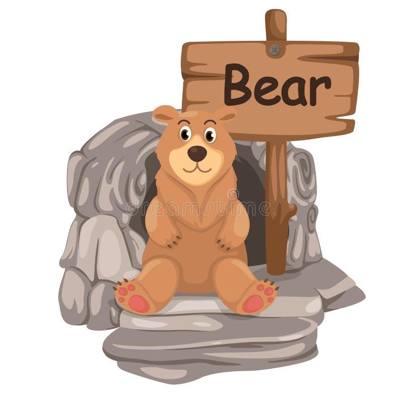 熊的动物字母表信件B 皇族释放例证
